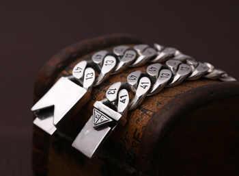 Pure 925 Sterling Silver Men\'s Bracelet Wide 16mm Triangle socket Lock High Polish Link Chain Male Biker Silver 1314 Bracelet