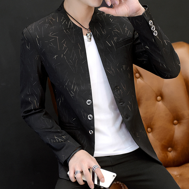 HO 2019 Men 's casual collar collar blazers youth handsome trend Slim print blazers 1