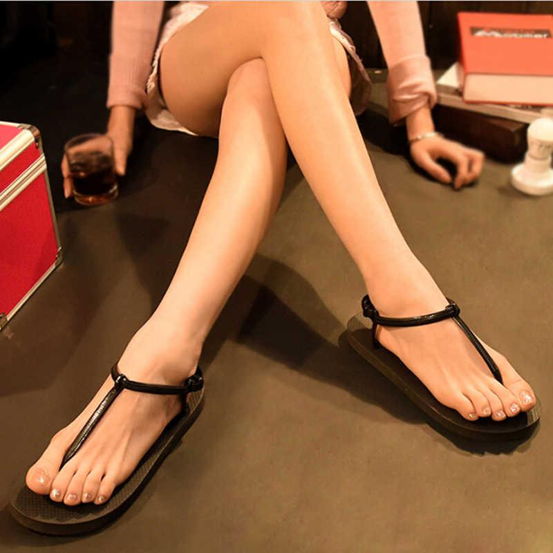 Sandalias de verano 2019 para mujer, zapatos de gelatina de Color caramelo, Sandalias de playa para mujer, zapatos planos de Tanga, chanclas femeninas
