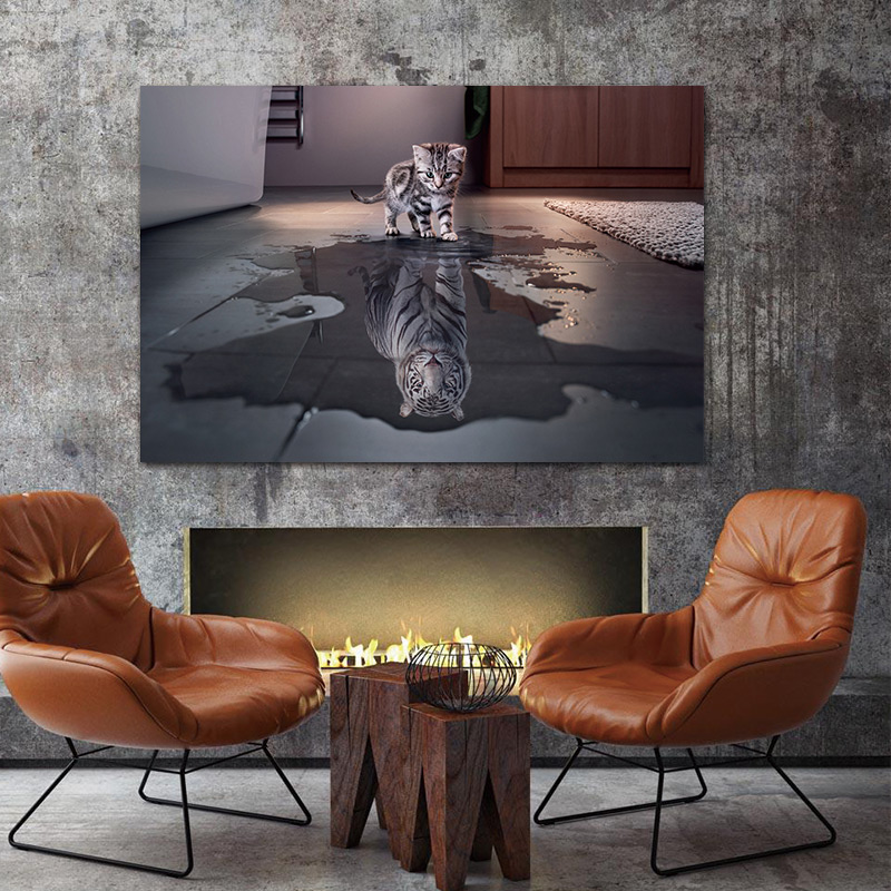 "Wall Canvas Art Painting ""Cat & Tiger"" 1"