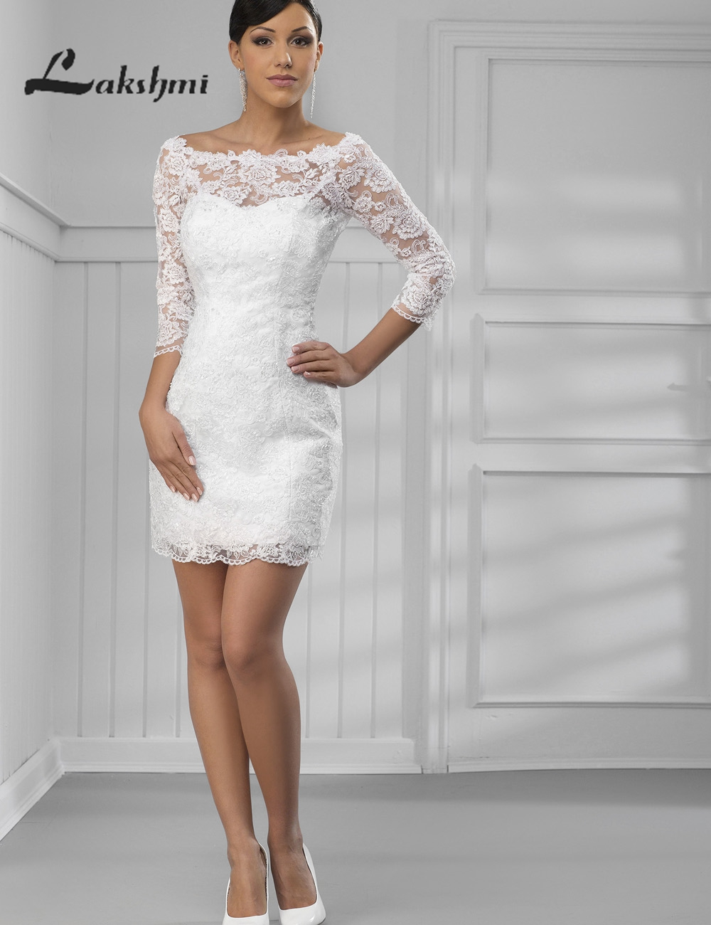 Elegant scoop 3 4 sleeve lace short reception dresses two for 3 4 sleeve wedding guest dress