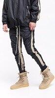 2017 High Street Khaki Stripe Black Stitching Bottoms Side Zipper Pants Hip Hop Fashion Casual Urban