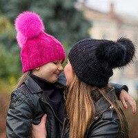 2017 הורים לילדים חדשים צמר בגימור החורף לסרוג כפול-MXM-108 נשים + ילדי כובע כובע כדור שיער שיער אביזרי משלוח חינם