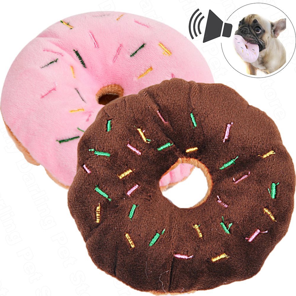 Pet Chew Cotton Donut Play Toys Lovely Pet Small Dog Puppy Cat Tugging Chew Squeaker Quack Sound Toy Dogs Chewing Donut Toys Pug