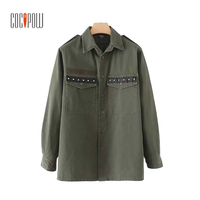ZA Studded Army Green Tassels Loose Shirts Pockets Rivet Long Sleeve Blouse Boyfriend Style Female Casual