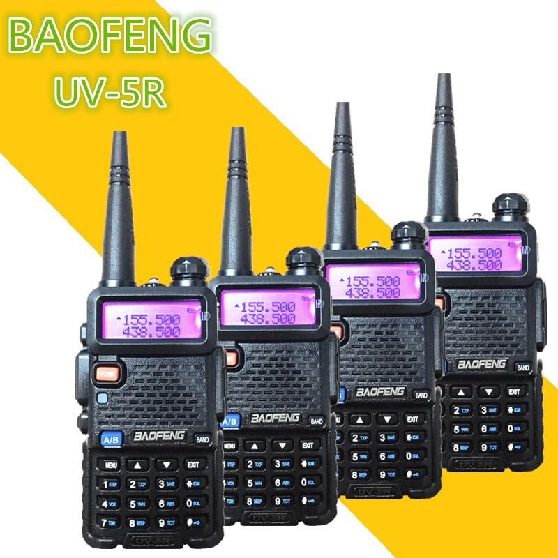 4PC BAOFENG UV-5R Portable Long Range Two Way Radio 5W 1800MAH UHF VHF 128CH  Ham Transceiver Communicator For Motorola