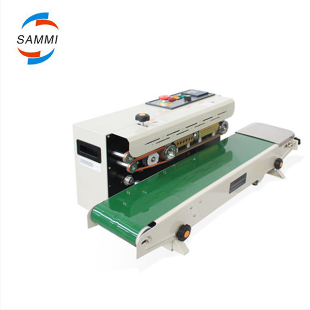 Automatic Heat Sealing Machine With Date Printer, Continuous Band Sealer With Conveyor