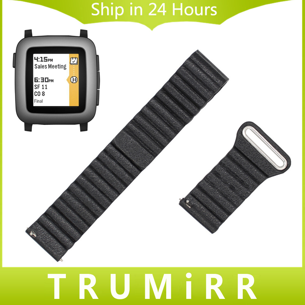 22mm Genuine Leather Watchband Magnetic Buckle Strap for Pebble Time / Steel Watch Band Quick Release Belt Bracelet Black Brown genuine leather watch band 22mm for pebble time steel stainless pin buckle strap quick release wrist belt bracelet black brown
