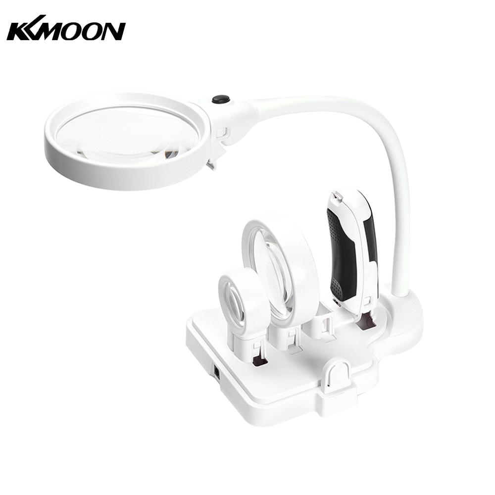 KKmoon 3 Lens 2.5X 5X 16X Desktop Magnifier Multi-functional Welding LED Magnifier Table Loupe Soldering Repair Magnifying Tool portable 5 level abs stand holder for ipad 2 ipod touch 4 iphone 3g 4 purple