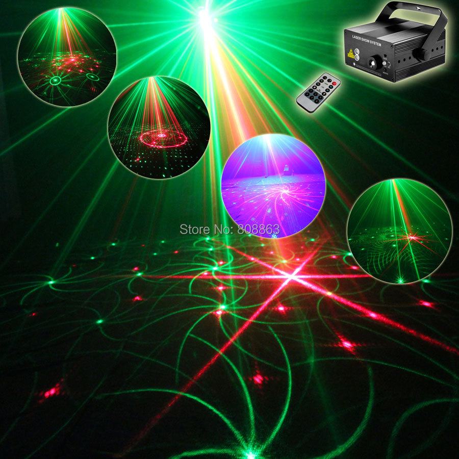 Mini Blue Led Red Green Laser 48 Patterns Projector Club Bar DJ Lighting Dance Birthday Disco Party Stage Effect Light show t95 laser stage lighting 48 patterns rg club light red green blue led dj home party professional projector disco dance floor lamp