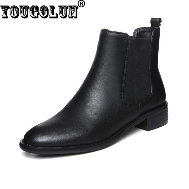 YOUGOLUN Autumn Winter Women Ankle Boots Leather Shoes Mid Square Heels(5cm)Fashion Round toe Shoes Elegant Woman Black Boots