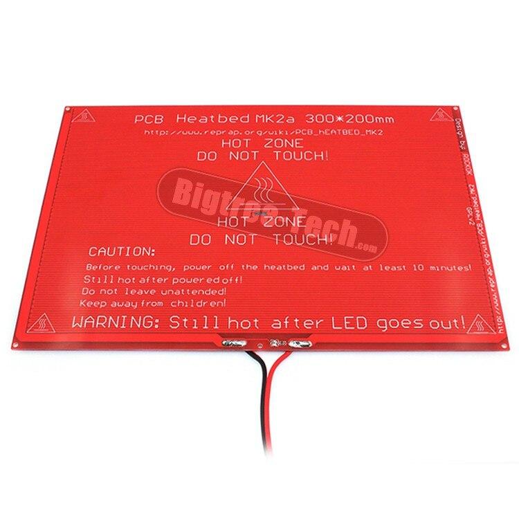 Больше! Новый печатной платы heatbed MK2A со светодиодной резистор и кабель для 3D RepRap Принтер пандусы 1.4 Горячая кровать 300*200*2.0 XT0359-3D S101