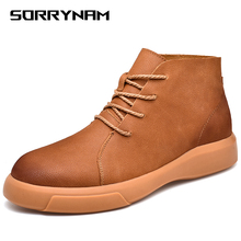 Men Pu Leather Lace-up Shoes High Quality Vintage British Military Boots Autumn Winter Plus Size 38-47
