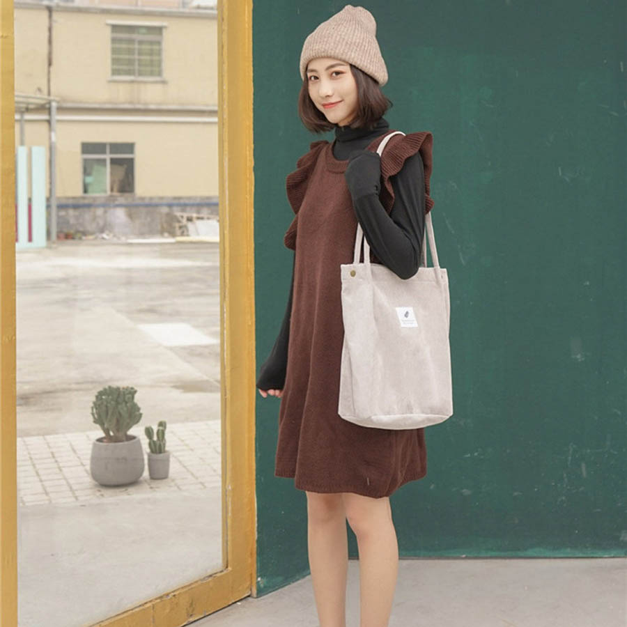 Mara's Dream High Capacity Women Corduroy Tote Ladies Casual Solid Color Shoulder Bag Foldable Reusable Women Shopping Beach Bag 37