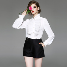 Chiffon Shirt 2018 Body Shirt Retro Female One Piece Blouse White Solid Color Lantern Ruffle Collar Women's Formal Tops Suits