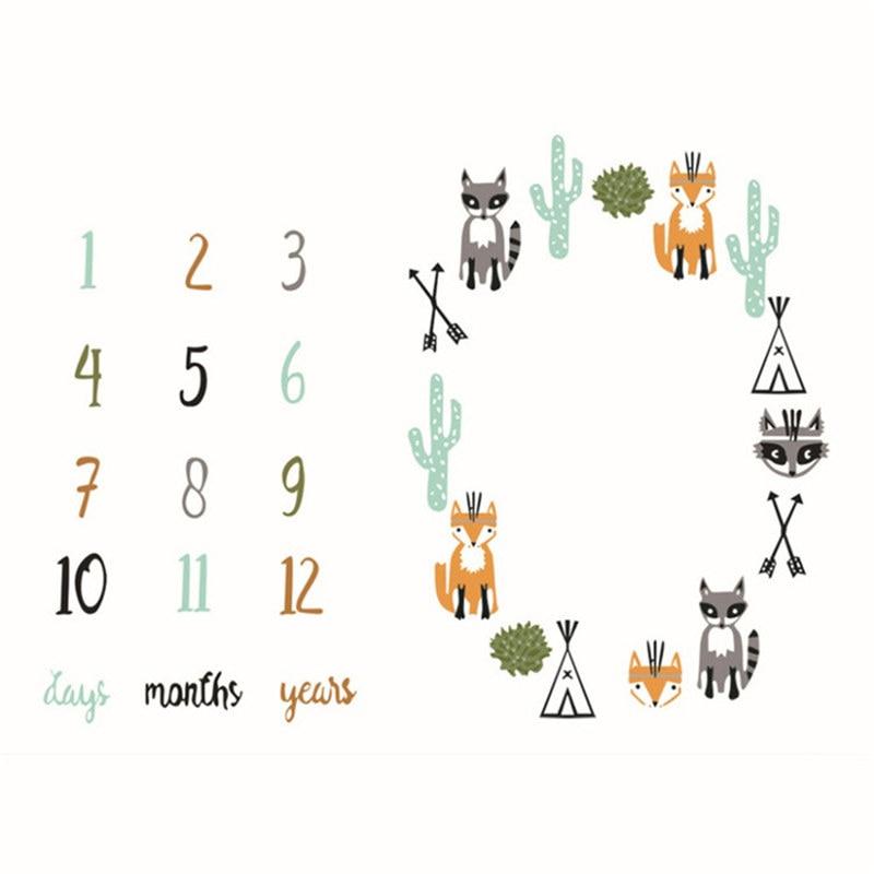 Milestone Blanket Fox Cartoon Blanket As Month To Month Photography Props,photography Blanket Props,newborn Photography Props