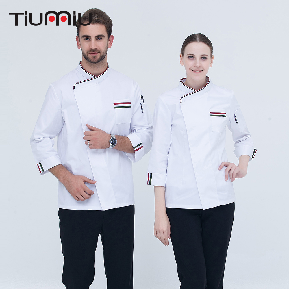 5 Colors New Arrival High Quality Chef Uniform Long-sleeved Oblique Collar Patchwork Kitchen Bakery Restaurant Cook Chef Jackets