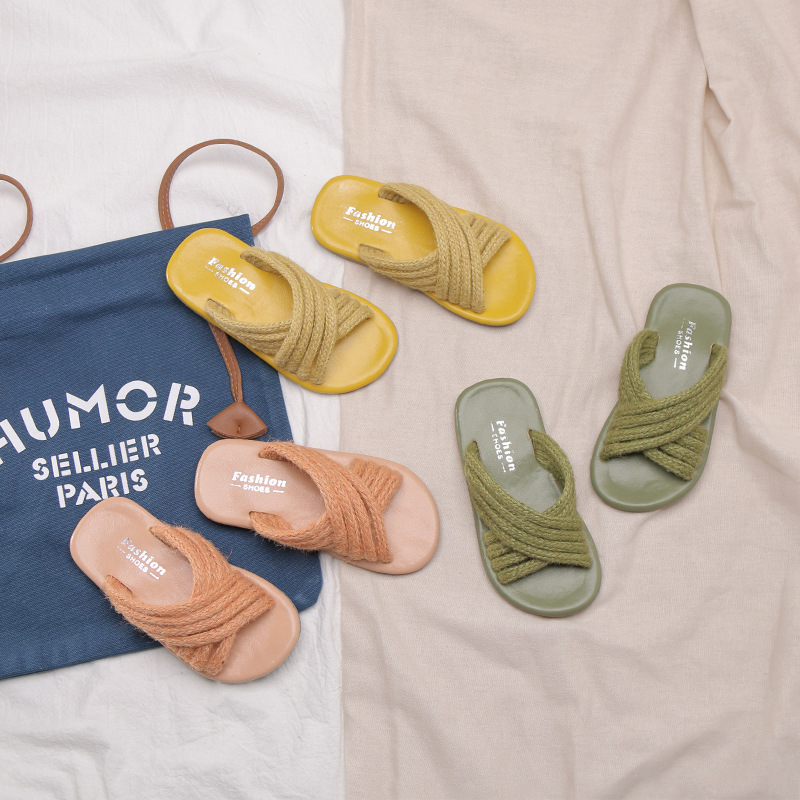 Girls Slippers Kids Shoes Beach-Shoes Soft-Sole Pantufa Infantil Summer Hemp-Rope Open-Toe