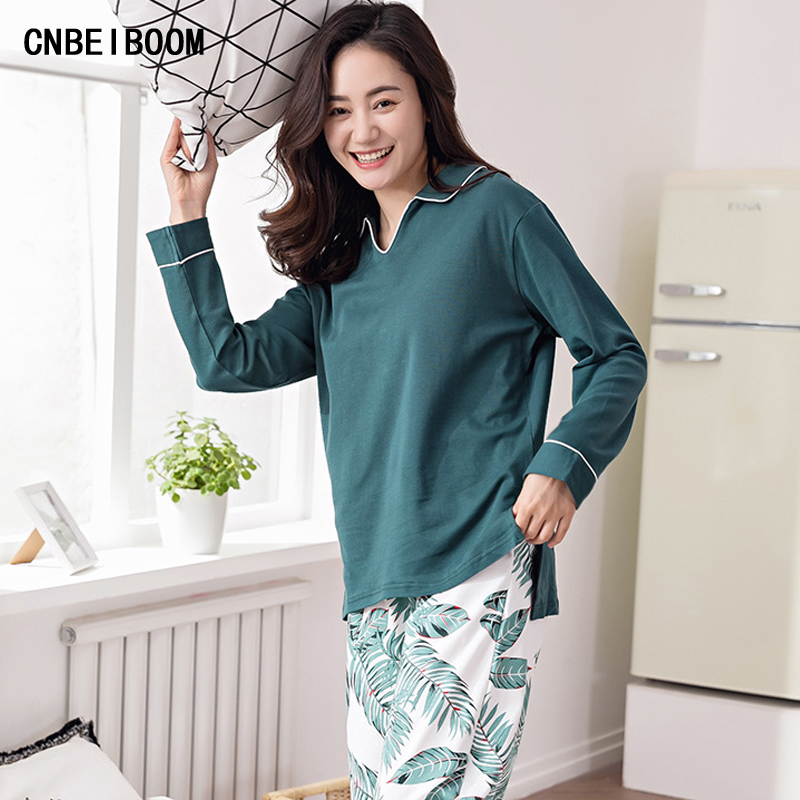 Spring Autumn Cotton Pajamas Suit Pregnant Women Loose Casual Long Sleeved Two Piece Set ...