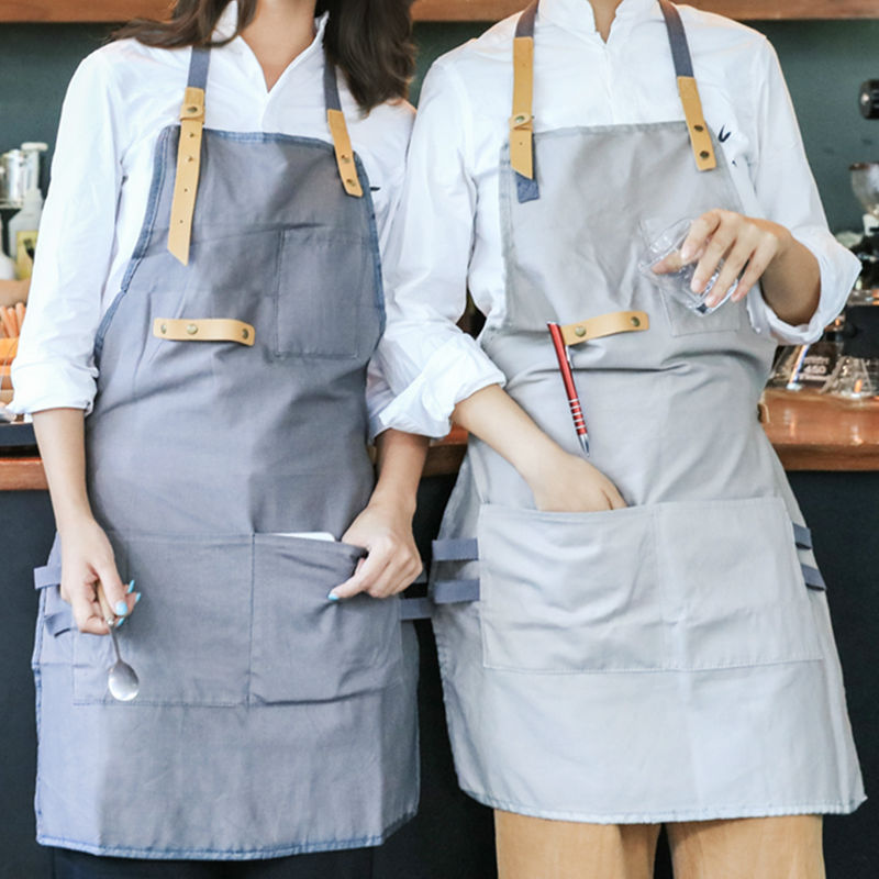 Full Length Gray Khaki Cotton Linen Apron Barista Cafe Bistro Uniforms Waitress Painter Baker Florist Gardener