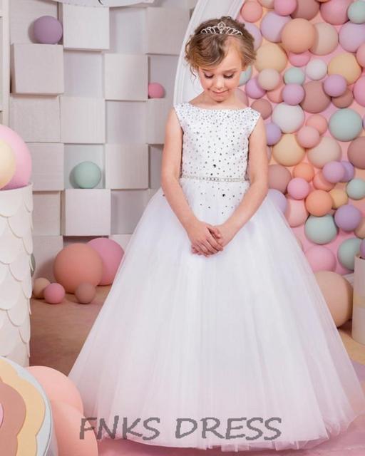f60ab777dea Elegant Flower Girl Dress Ball Gown Holy First Communion Dresses for Little  Girls Satin Bow Girls