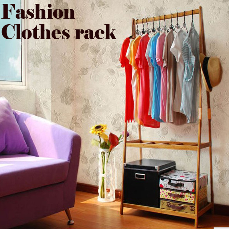 The large space wardrobe, clothing display rack, clothes tree, suitable for bedroom or shop use,wood furniture bamboo coat rack