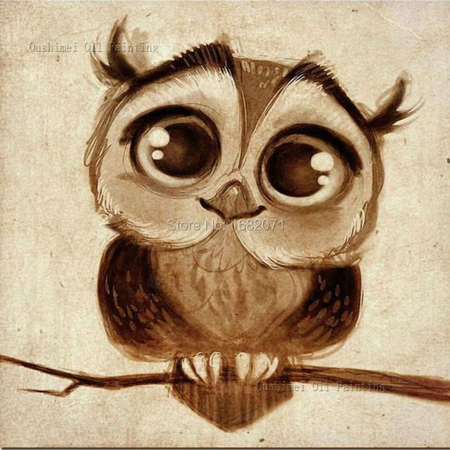 9255de327e06 Custom Artworks 2019 New Design Hand Painted Modern Abstract Funny Animal  Oil Painting On Canvas Big Eyes Cartoon Owl Paintings