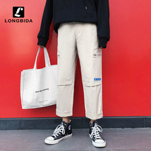 Summer Men Pants Casual Loose Cargo 100% Cotton Straight Ankle Length Harem