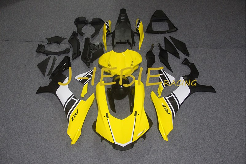 Yellow white black Injection Fairing Body Work Frame Kit for Yamaha YZF 1000 R1 2015 2016 2017