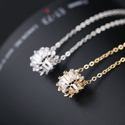 New Trendy Popular Small Circle Necklace Simple Brand Shining CZ Zirconia Crystal Necklace for Women Fashion Jewelry 2020