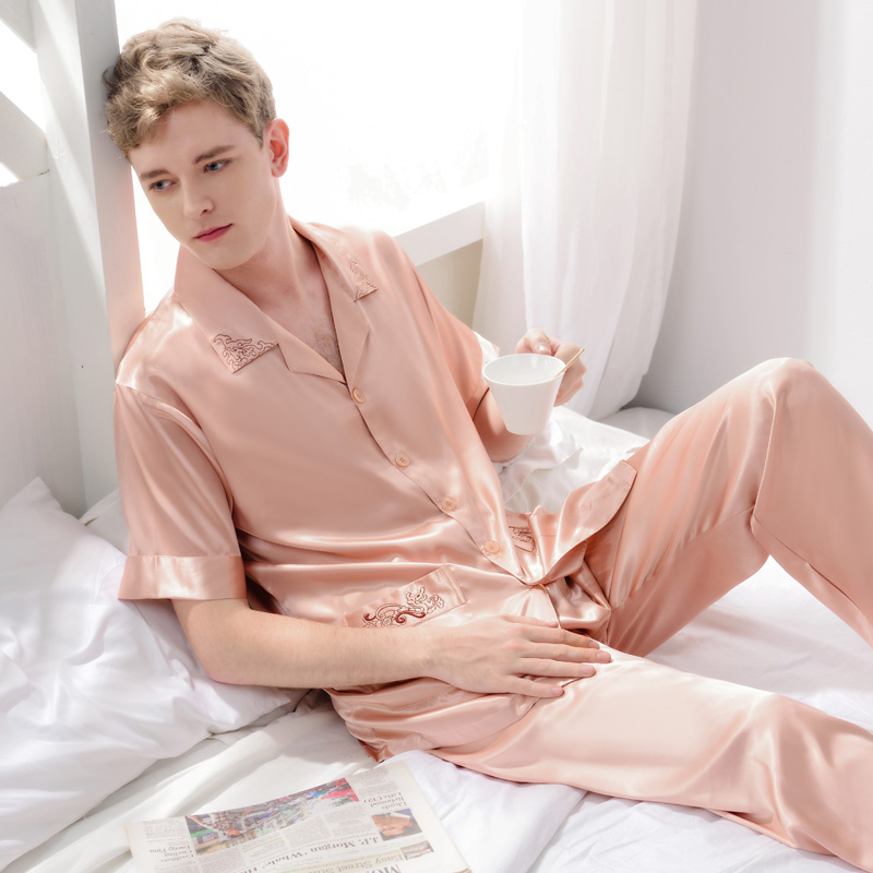 XFN Sexy Silk Men Pajamas 2017 NEW Short-Sleeved Pajama Pants Sets Pure Color High Quality Satin Silk Pyjama Lounge Set 3317
