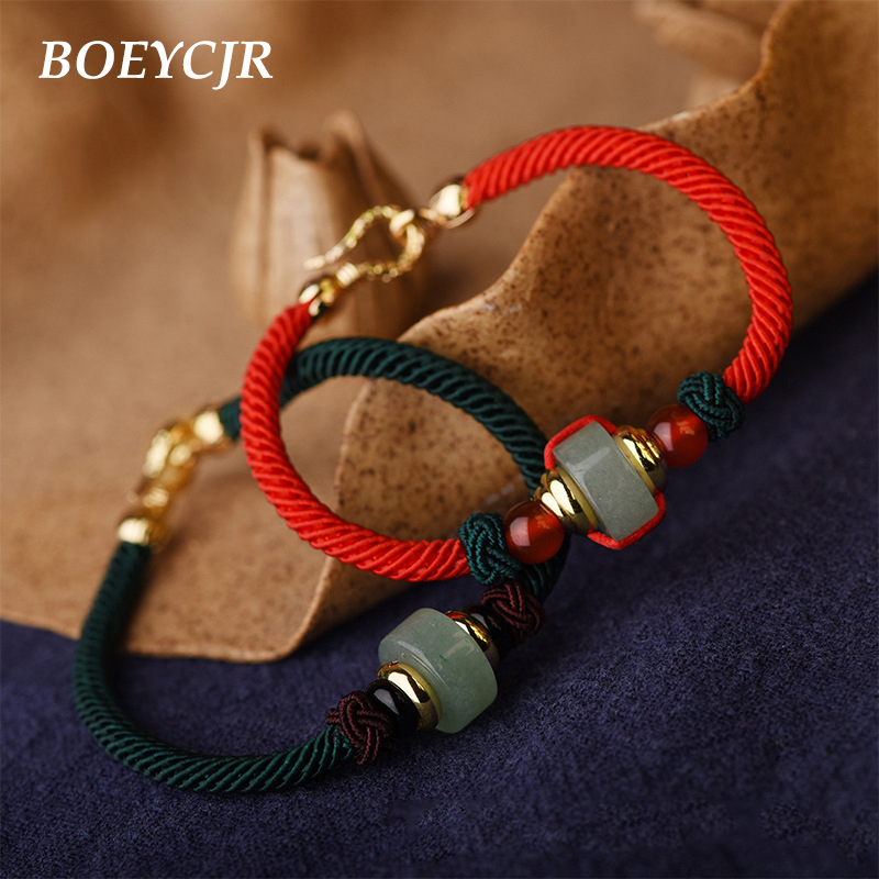 BOEYCJR Couple Braided Rope Bangles & Bracelets Jewelry Handmade Ethnic Lucky Energy Stone Bracelet for Men and Women Gift 2018