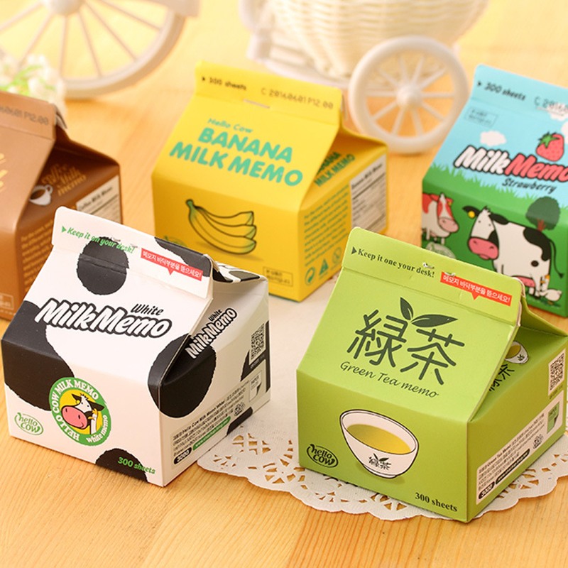Coloffice Creative Milk Box Extract Convenient Stickers Paste Pocket Milk Coffee Memo Pads Stationary  School Office Supplies