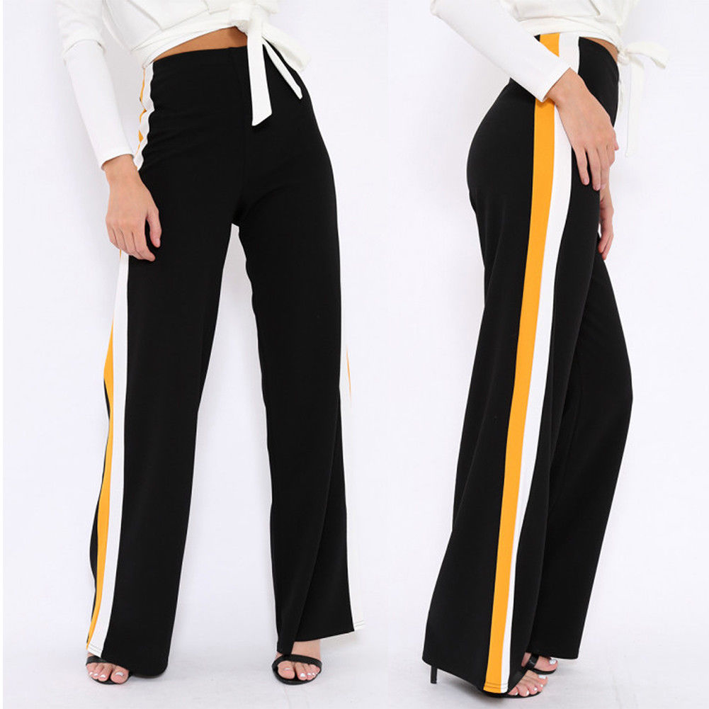 Fashion Womens   Pants   Female High Waist Woman   Wide     Leg     Pants   Office Lady Striped Long Trousers Ladies Loose   Pants   Size S-XL
