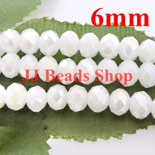 Linde Jewelry Beads Shop 6.63USD/600pcs 6mm AAA top quality crystal glass 5040 rondelle beads white jadee AB colour 600pcs/lot free shipping R060AB456