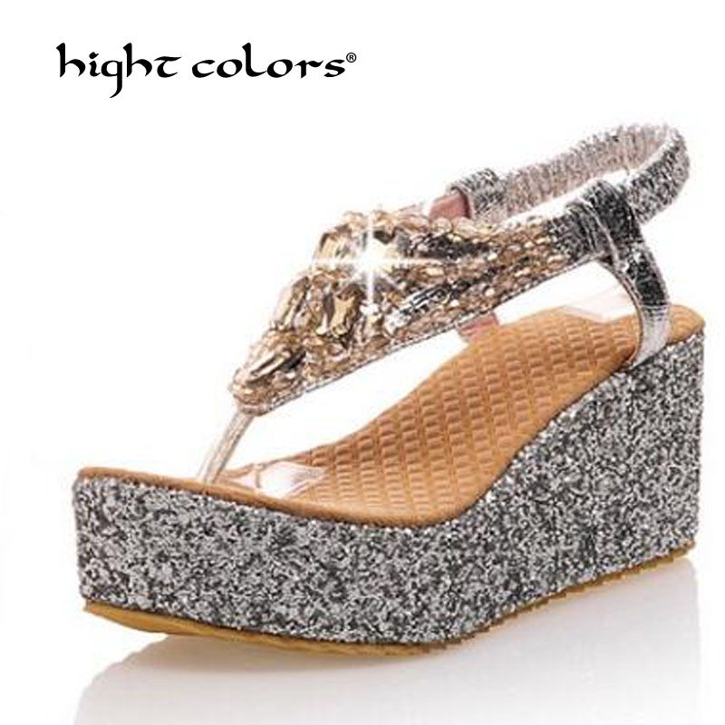 Woman Shoes Wedges Wedding-Sandals Platform Cloth T-Strap High-Heels Party Gold Silver