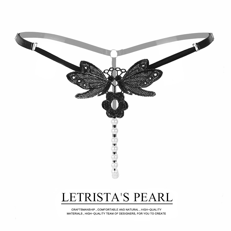 JIMMYWING Sexy Crotchless Faux Pearl G String Sexy Femme Erotique Chastity Thong Open Crotch Butterfly Brief Women Sissy Panties