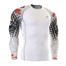 New Men's 3d Printing Rash Guard Long Sleeves Compression Shirt Tight Skin MMA Crossfit T-Shirts S-4XL