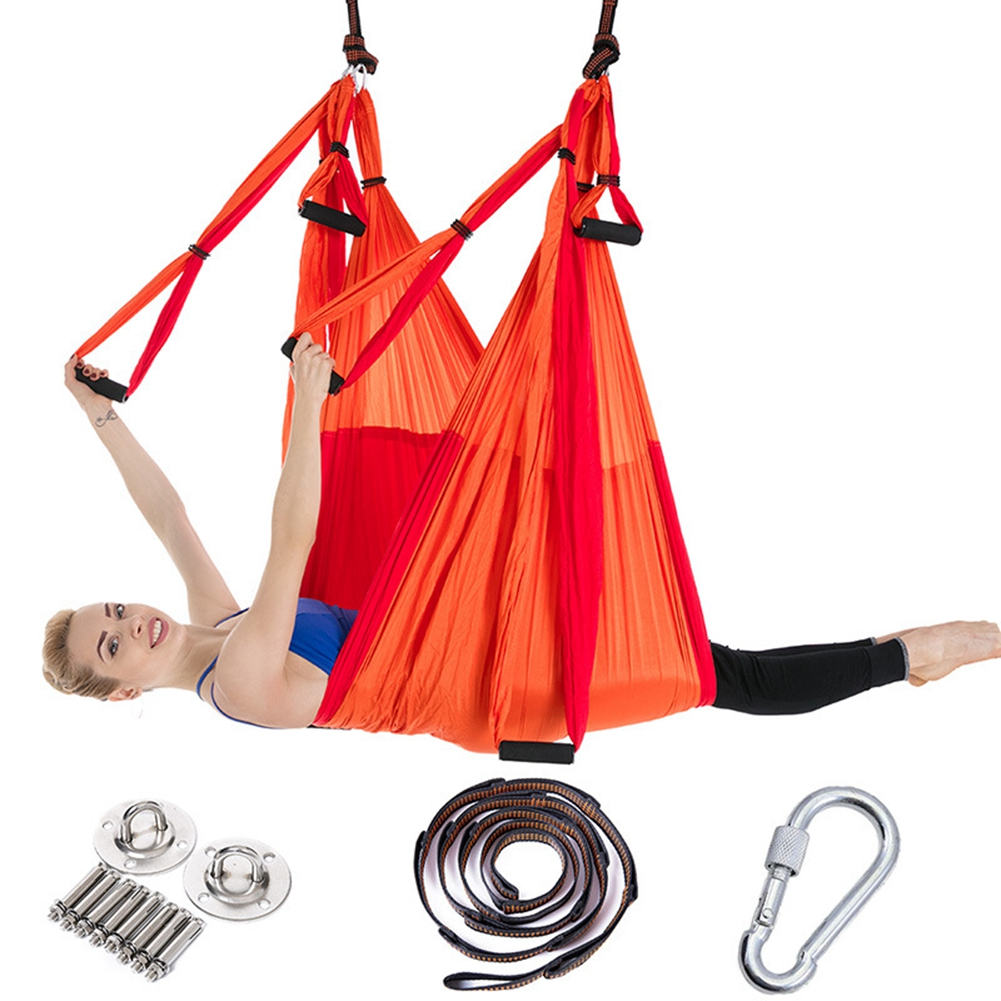 Full Set 6 Handles Yoga Hammock Anti-Gravity Nylon Flying Swing Trapeze Aerial Traction Device Home GYM Hanging Belt 16 Colors 2 5m 1 5m elastic exercise yoga hammock aerial swing anti gravity yoga belt inversion trapeze hanging gym traction