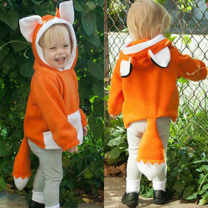 סגנון חדש בסתיו 2019 פעוט ילד תינוק ילד ילדה חם חתיכה אחת הלבשה עליונה מעיל מעיל ברדס שועל חיות בגדים סט