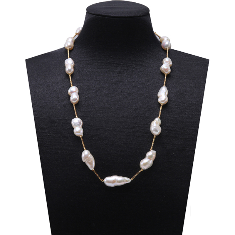 JYX Long Pearl Baroque Pearl Necklace South Sea Fine White Freshwater Cultured Baroque Pearl Necklace Party AAA 16-32