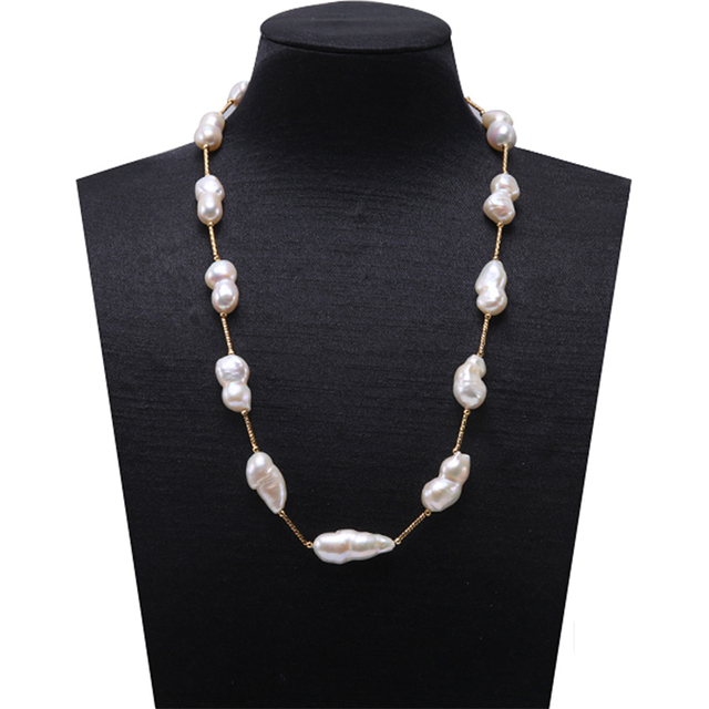 JYX Long Pearl Baroque Pearl Necklace South Sea Fine White Freshwater Cultured B