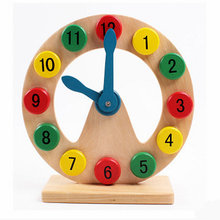 Exempt postage, wooden toys, color digital clock puzzles, childrens early education teaching aid, educational wholesale