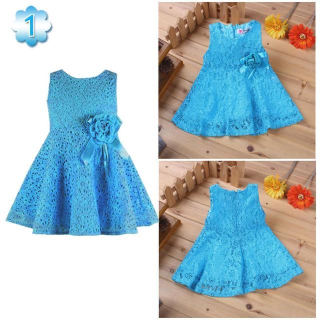 Verano nuevas niñas dress/elegante princesa dress con la flor/fashion lace dress