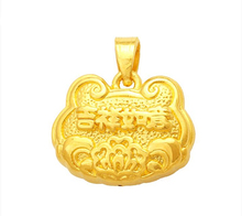 Pure 24k Yellow Gold Pendant 3D Lucky Carved Bless Lock Bag Pendant 2g