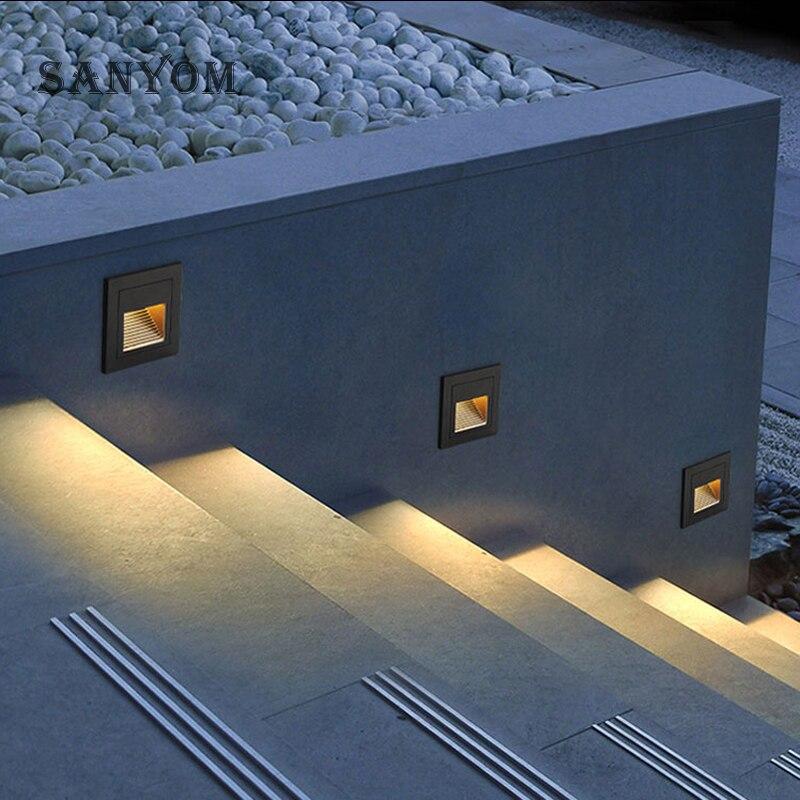 Outdoor  Indoor LED Step Light Waterproof Stair Light Wall Embedded Underground Lamp Lighting Deck Footlights 3W 85-265V IP65