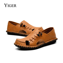 YIGER New Men Sandals Genuine Leather Leisure Summer Beach Shoes Casual men shoes Sewing Man sandals Brown 0080