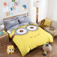 XINLANISNOW 100% Cotton Cartoon Bedding Set Yellow Gray Big Eyes Minions Duvet Cover Set Kids Adults Bed Sheet Bed Linen Twin Qu