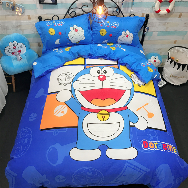 Hot sale Doraemon Tinkling cat Cartoon pink Bedding Set Include Duvet Cover Bed falt Sheet Soft Pillowcases Kid/girl/adult gift