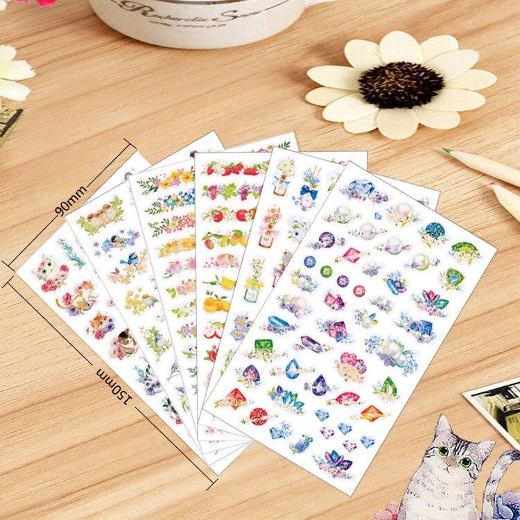 6 Sábanas Corea flor serie mascota dibujos animados Adhesivos Diary ...